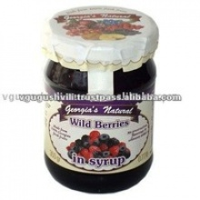 sweet wild berries in syrup canned fruit - product's photo