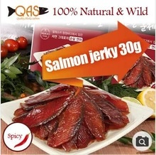 salmon jerky 30g100% natural wild spicy omega-3 smoked with beech tree fresh salmon high protein - product's photo