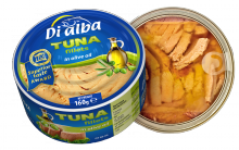 tuna fillets in olive oil 160g. (di alba) - cans with transparent lid! - product's photo