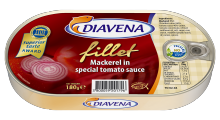 mackerel fillets in special tomato sauce 180g. (diavena) - product's photo