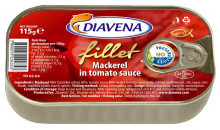 mackerel fillets in tomato sauce 115g. (diavena) - product's photo