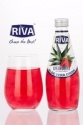 aloe vera drink with aloe vera pulps strawberry flavor in glass bottle - product's photo