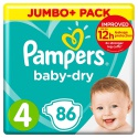 pampers baby-dry size 4, 86 nappies, 9-14 kg - product's photo
