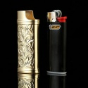 golden bic lighter metal case cover for mini bic lighter no lighter,df - product's photo