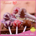 fruits flavor hard scotch lollipop candy with double colors - product's photo