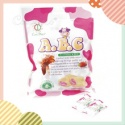 abc milk candy with sweet strawberry center, sweet ,milk candy - product's photo